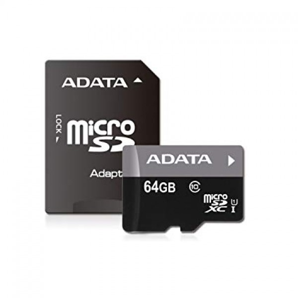 მეხსიერების ბარათი AUSDX64GUICL10A1-RA1,  A-DATA 64GB Premier microSDHC UHS-I U1 Card (Class10) with adapter Retail