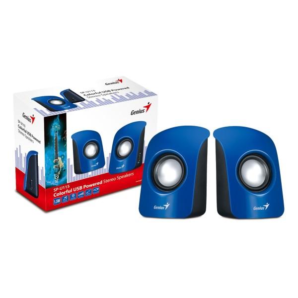 ხმამაღლამოლაპარაკე SP-U115, Genius Stereo USB Powered Speakers Blue