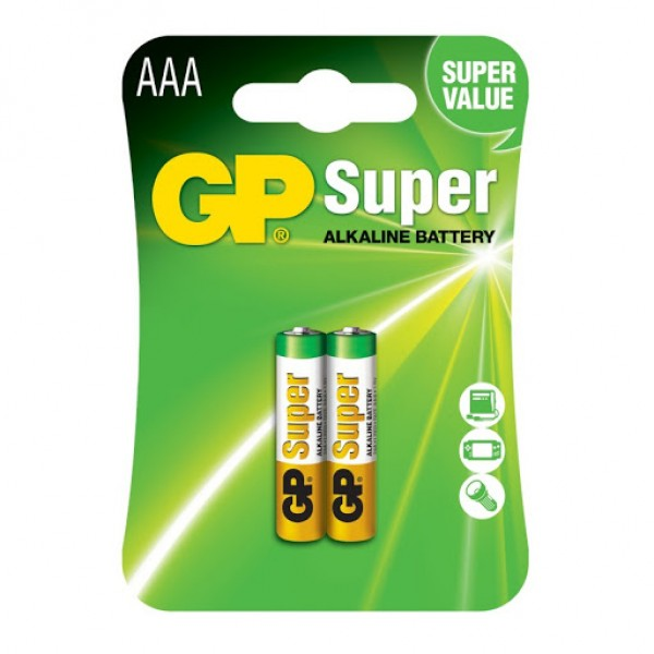 შეკვრა ელმენტების 2-ცალიანი GPPCA24AS012 GP24A-2UE2 SUPER ALKALINE battery 1,5V (AAA) GP 48911990000