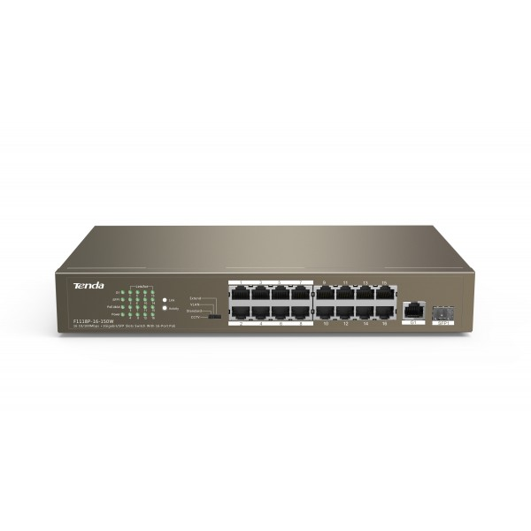 TEF1118P-16-150W (16 10/100Mbps  1 Gigabit/SFP Slots Switch With 16-Port PoE)