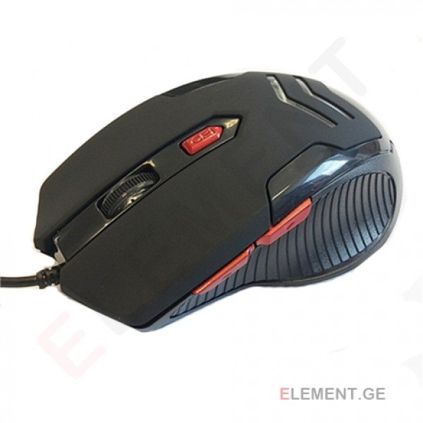 Super power Optical Gaming Mouse 16, 4 butons, whit RED LED light, black, righthand,  2400 dpi, USB