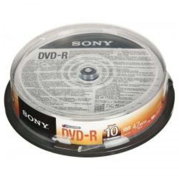 SONY შეკვრა დისკების 10-ცალიანი 10DMR47SP DVD-R 4.7Gb Spindle 10 027242852488