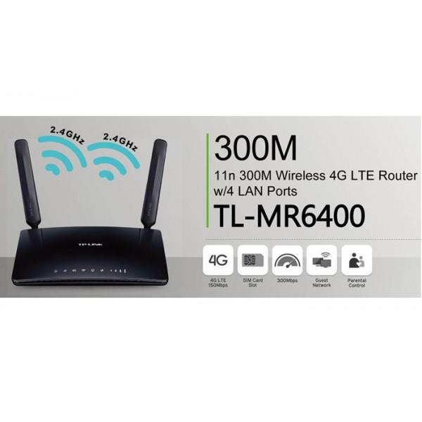 როუტერი, რადიო ქსელი TL-MR6400, TP-Link, 300Mbps Wireless N 4G LTE Router