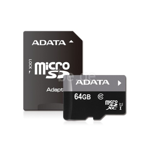 AUSDX64GUICL10-RA1, A-DATA 64GB Premier microSDHC UHS-I U1 Card (Class10) with adapter Retail