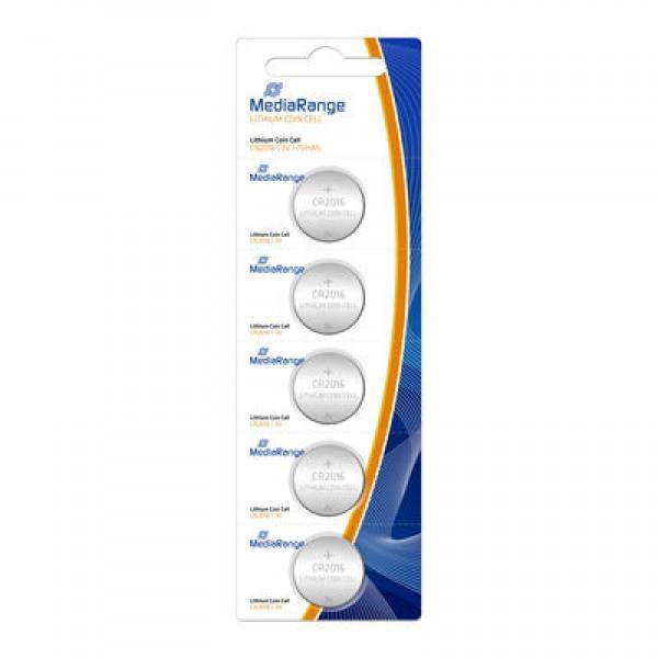 შეკვრა ელემენტების 5-ცალიანი Lithium Coin Cells CR2016 3V Pack5 MRBAT136 MediaRange 4260283116010