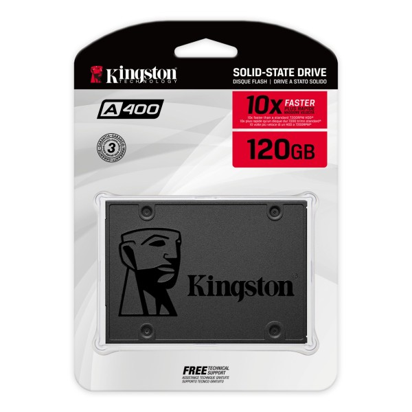 SA400S37/120GB, Kingston A400 SATA 3 2.5 Solid State Drive ,  SATA III - 6Gb/s, 500 MB/s