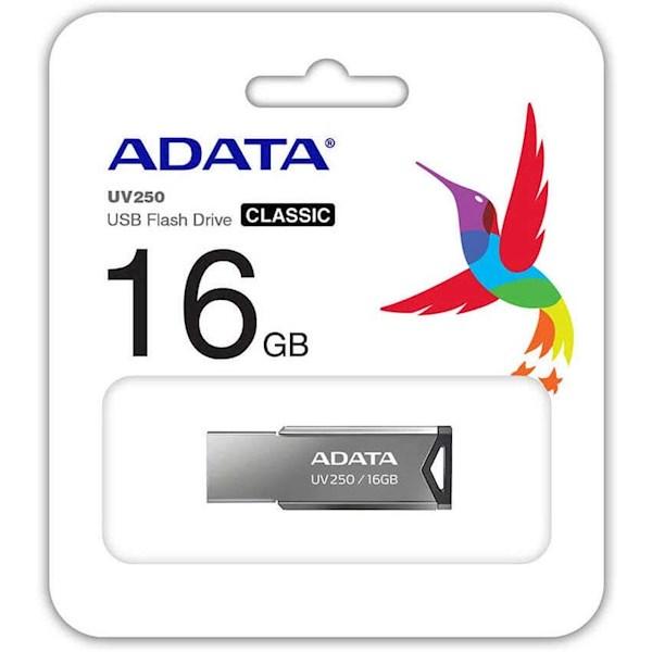 USB ფლეშ მეხსიერება, AUV250-16G-RBK Adata  UV250 16GB USB 2.0 Silver Flash Drive