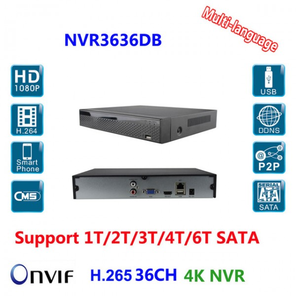 ჩამწერი NVR3636DB, 36CH, 2X Sata Interface, 12M/8M/5M/4M/3M/1080P/960P/720p,  Playback Resolution: 3CH@12MP/4CH@8MP,RJ45-10/100/1000