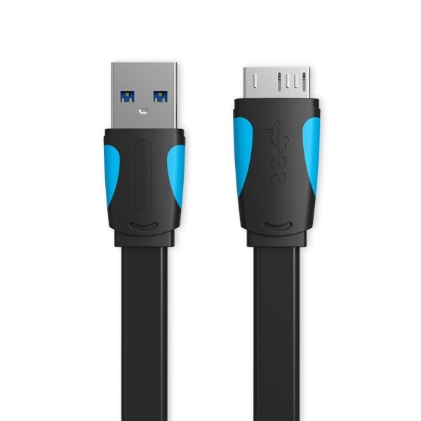 VAS-A12-B150, Flat USB3.0 A Male to Micro B Male Cable 1.5M  Black