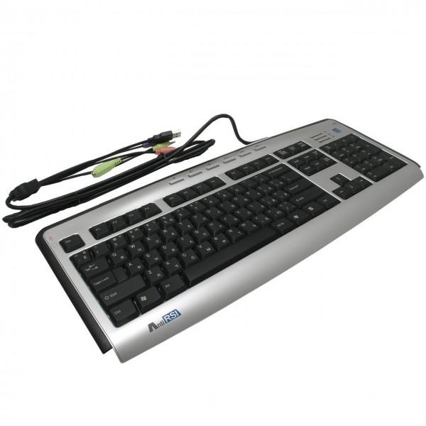 A4Tech keyboard KL-23MUU, USB (Silver-Black) (US Russian), Slim
