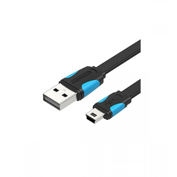 VAS-A14-B100 VENTION Flat USB2.0 A Male to Mini 5 Pin Male Cable 1M Black