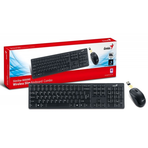 (გაყიდვაში არ არის)კლავიატურა Slimstar 8000X, Genius Wireless Slim Keyboard   Mouse, USB