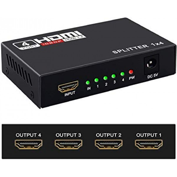 KDSP0104, KINGDA, HDMI Splitter1x4,with 3Dsupport,with power supply