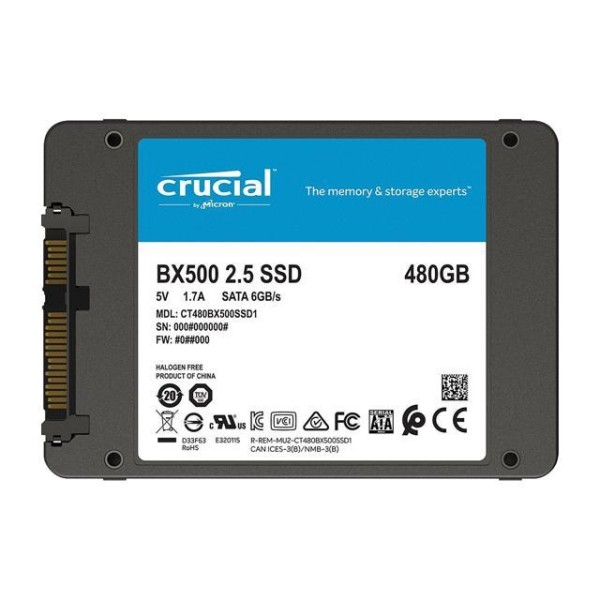 PC Components/ SSD/ Crucial BX500 480GB 3D NAND SATA 2.5-inch SSD Tray