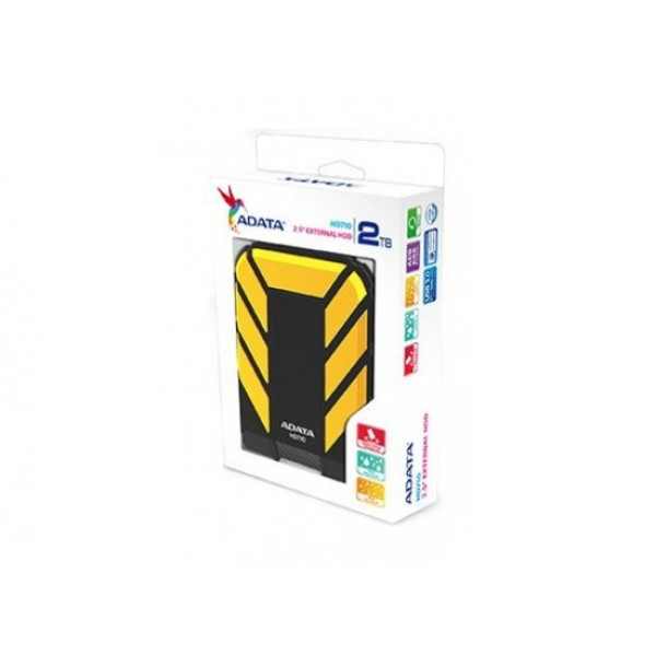 ADATA 1TB Portable Hard Drive HD710P DashDrive Durable USB 3.1, Color Box, yellow
