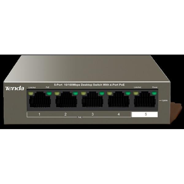 TEF1105P-4-63W  5-Port 10/100Mbps Desktop Switch with  4-Port  PoE  Switch