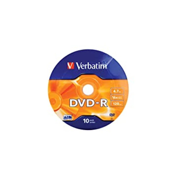 კომპაქტ დისკი  43729, Verbatim DVD-R,  Wrap 10pcs Spindle 16x, 4.7GB, Matte Silver