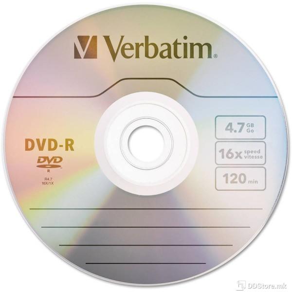 კომპაკტ დისკი 43791, DVD-R, 4.7GB 16x 50PK Wrap Matt Silver, Verbatim, 50-ცალიანი