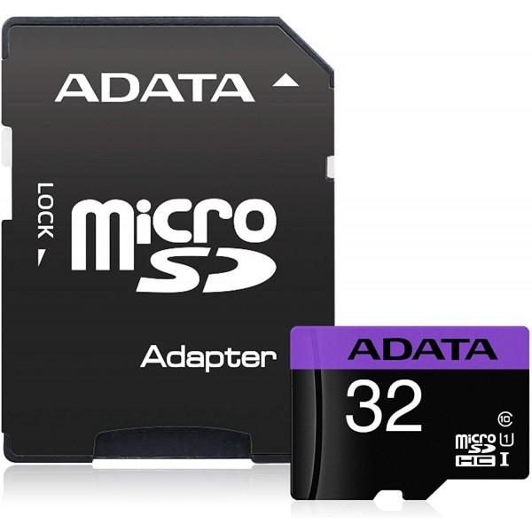 მეხსიერების ბარათი გადამყვანით AUSDH32GUICL10-RA1 ADATA MicroSD Card CL10 with adaptor-Retail packing ADATA (32GB)
