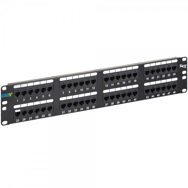 Patch Panel-48 ports UTP Cat5e with management bar