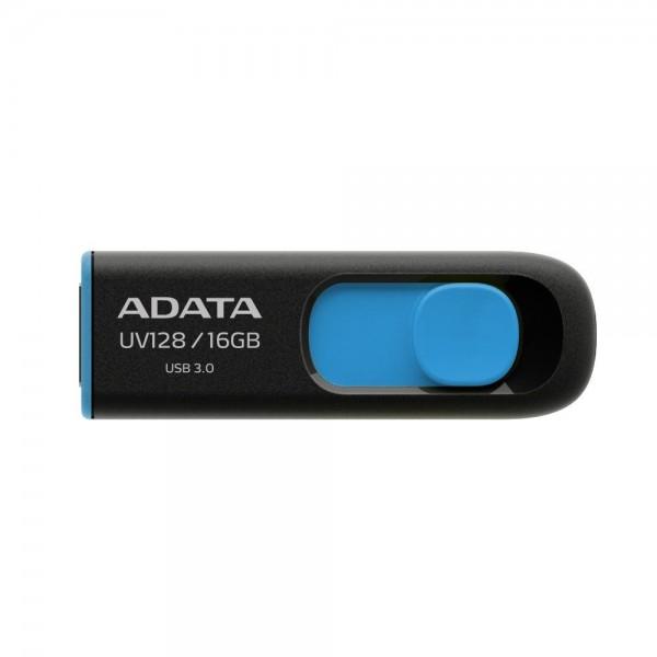 AUV128-16G-RBE, A-DATA DashDrive UV128 16GB Black Blue USB 3.0 Flash Drive, Retail
