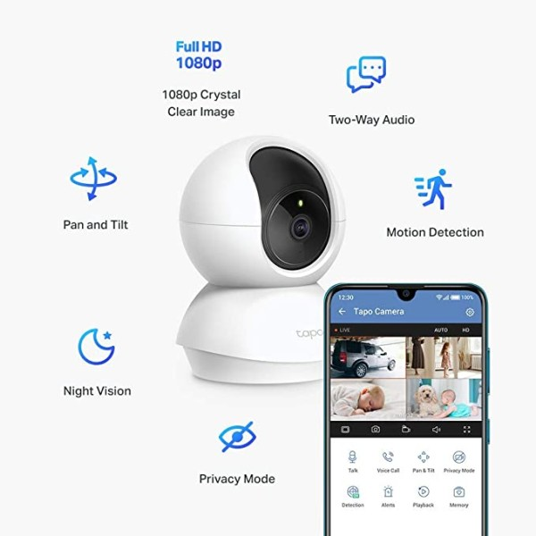 რადიო ქსელი Tapo C200 TP-Link, Pan/Tilt Home Security Wi-Fi Camera