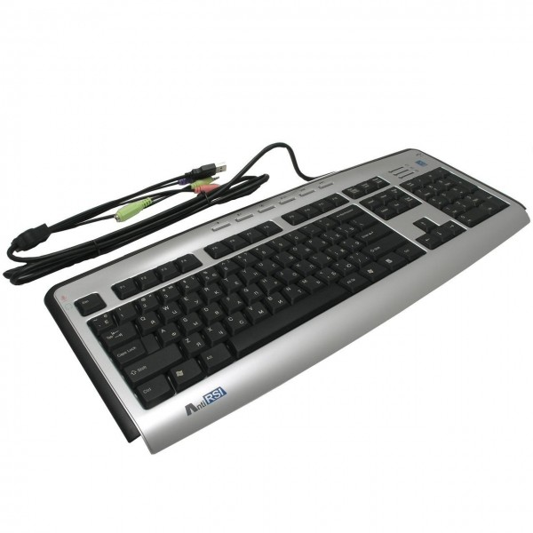 A4Tech keyboard KL-23MUU, USB (Silver-Black) (US Russian), Slim