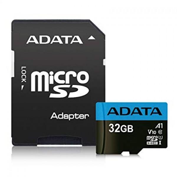 მეხსიერების ბარათი გადამყვანით AUSDH32GUICL10A1-RA1, ADATA MicroSD Card CL10 with adaptor-Retail packing ADATA (32GB),