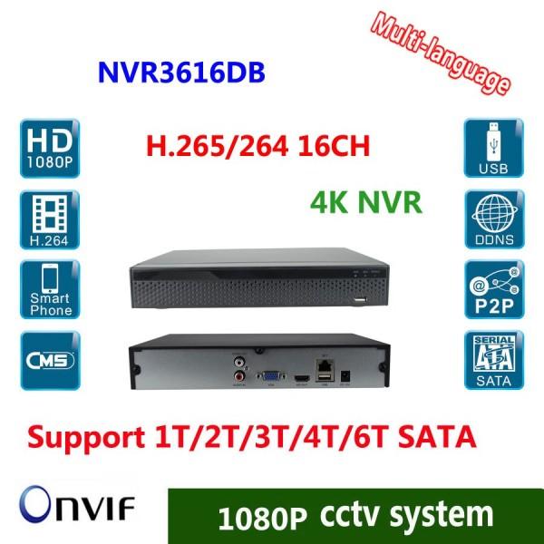 ჩამწერი NVR3616DB MAX 16CH, 2X Sata Interface, 4K/5M/4M/3M/1080P/960P/720p,  Playback Resolution: 1CH@4K/4CH@1080P,RJ45-10/100/1000