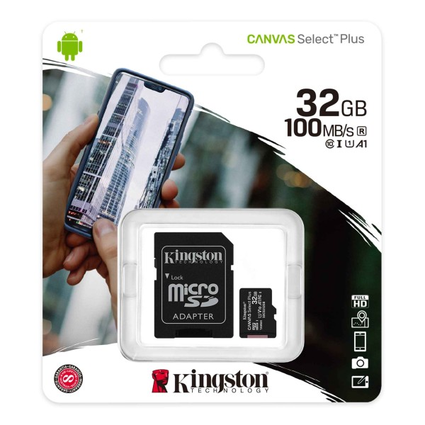 SDCS2/32GB, kingston Canvas Select Plus microSD Card Class 10 Up to 100 MB/s
